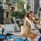 Happy couple on a bike