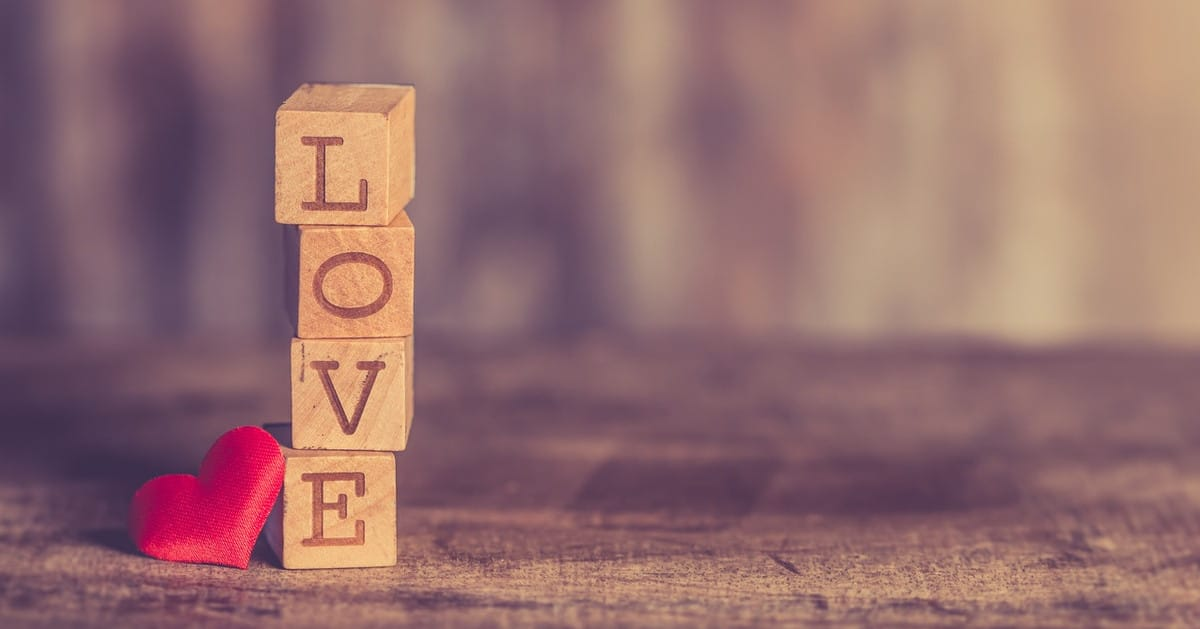 Wooden blocks that spell out love
